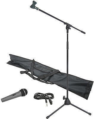 Chord Complete Microphone Kit Boom Mic Stand Leads & Bag Carry Case 180.066