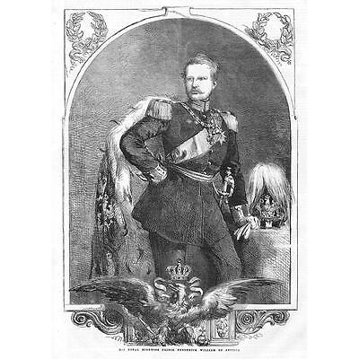 His Royal Highness Prince William Frederick of Prussia - Antique Print 1858