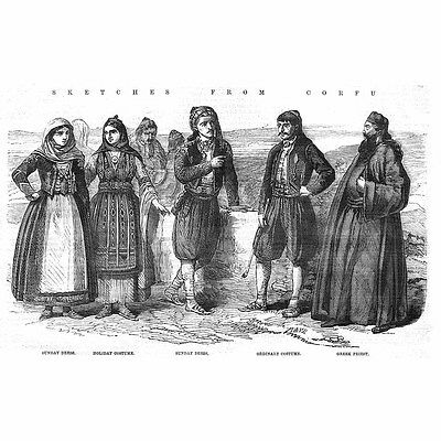 CORFU Male and Female Traditional Costumes; Greece - Antique Print 1859