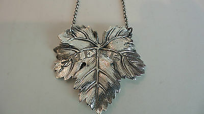 "Lovely Sterling Silver Pierced ""Sherry"" Liquor Bottle Label, Leaf Design"