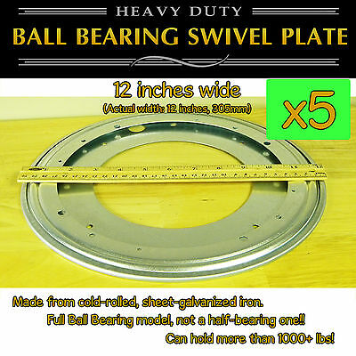 5 pcs - 12 inch (305mm) Full Ball Bearing Swivel Plate Lazy Susan Turntable