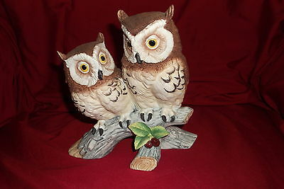 Pair Of Owls On A Branch Andrea By Sadek #6307 Japan Ceramic Matte Finnish