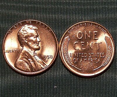 1958-D Lincoln Wheat CENT gem BU from old original roll $2.99 combined S&H