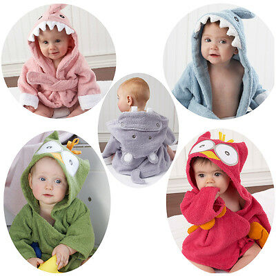 NEW Baby Boy Girl Costume TERRY Towel Hooded Bath Robe 0-2 years *Shark Owl*
