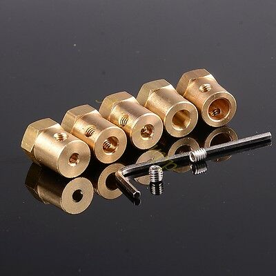 3 4 5 6 7 8 mm Brass Shaft Couplings Coupler Motor 12MM Hex connector DIY Screws