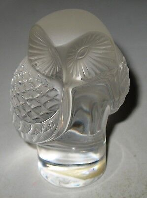 """Lalique Owl """"Chouette"""" Crystal Paperweight signed  Lalique ® France (post 1978)"""