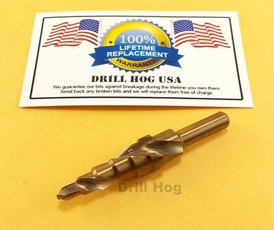 "3/16""-1/2 Step Drill Bit Cobalt M42 Spiral Flute Lifetime Warranty Drill Hog USA"