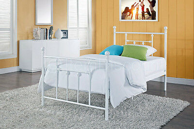 twin white metal slats platform bed frame foundation dorm guest kids traditional
