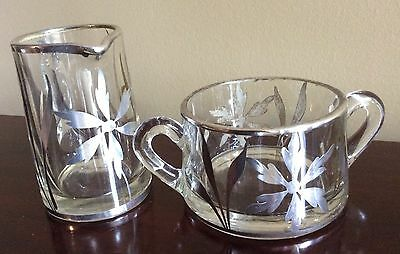 Vintage Art Deco Mid Century Glass With Sterling Silver Overlay Cream & Sugar