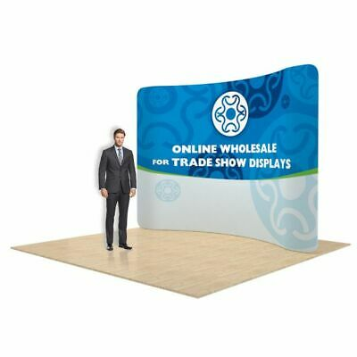 10ft Curved Fabric Tension Trade Show Displays Booth Stand with Travel Case
