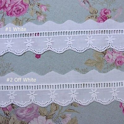 Embroidered Cotton Eyelet Lace Trim  1.6 Inch (4cm) Wide 5Yard