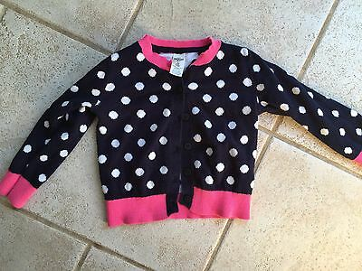 Osh Kosh long sleeve polka dot sweater 2T girls toddler pink trim bgosh b gosh