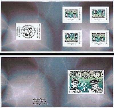 "Booklet 4 Perso stamp GREEN ""70 years Victory DE GAULLE & CHURCHILL / WWII"" 2015"