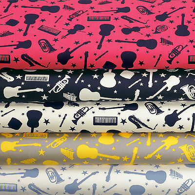 Guitar Violin Saxophone French Horn Electone Music Star Cotton Fabric VK68 by FQ