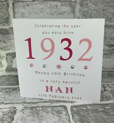 90th 1929 Year You Were Born Birthday Card Personalised 6 Mother Gran Aunt Nan