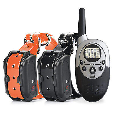 2 Collars 1000 Yard LCD Remote Rechargeable Waterproof Dog Training Shock Collar