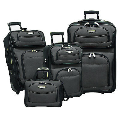Traveler Choice Amsterdam Gray 4-Piece Expandable Wheel Luggage Suitcase Bag Set