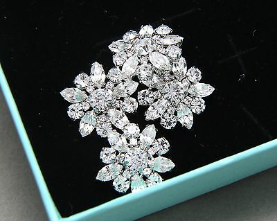 Lot of 4 Vintage Style Flower Star Rhinestone Crystal Shank Wedding Buttons DIY