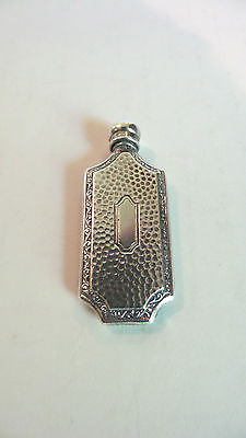 Vintage Hammered Sterling Silver Miniature Flask Shaped Scent / Perfume Bottle