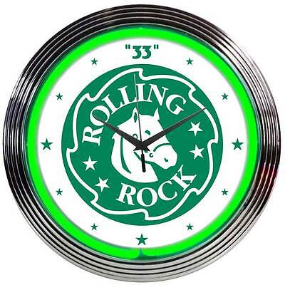 "Rolling Rock Beer Neon Clock sign bar light lamp ""33"" Mancave Man cave Bud New"