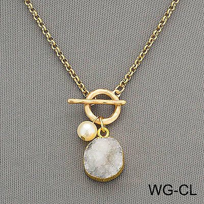 Gold Chain Bohemian Style Hammered Ring Pearl Gray White Druzy Stone Pendant