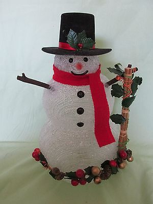 """13"""" Crystal Clear Snowman Christmas/Holiday Figure Lighted with Broom/Garland"""
