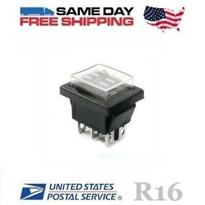 Waterproof Momentary DPDT ~ Double Pole Double Throw (ON-OFF-ON) Rocker Switch