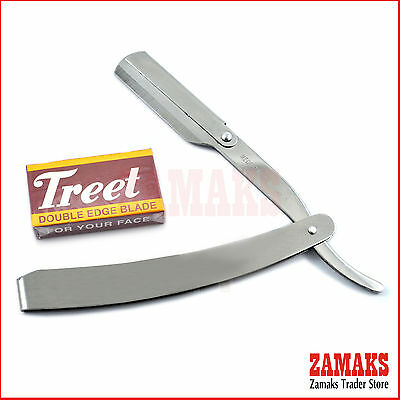 Barber Salon Straight Cut Throat Shaving Razor Silver  With 10 Free Blades