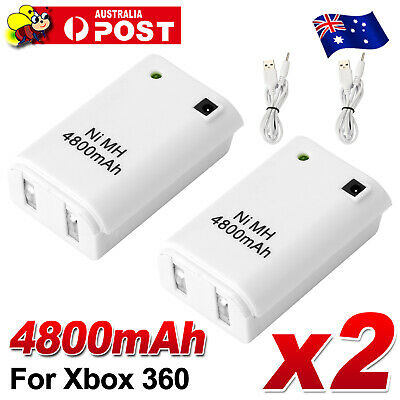 2x Rechargeable Battery USB Charger Cable for XBOX 360 Wireless Controller