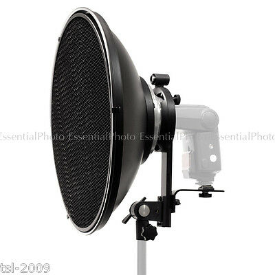 "42cm 16"" Speedlite Studio Beauty Dish Silver Flash Reflector Bowens S Fit 2-in-1"