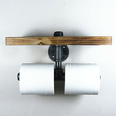 Industrial Style Iron Pipe Double Toilet Paper Holder Roller With Wood Shelf
