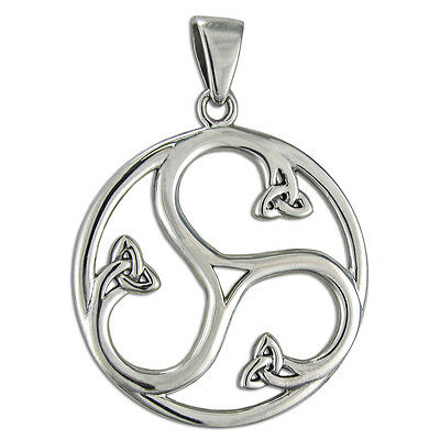 Sterling Silver Celtic Knot Triskele Spiral Pendant Jewelry - Irish Pagan Wiccan