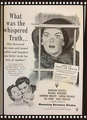 """1948 Vintage Print Ad- Movie""""mourning Becomes Electra""""(Rosalind Russell)"""