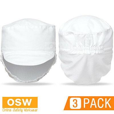 3 X Chef Restaurant Food Prep Canteen Shop White Hat With Fitted Hair Mesh Net