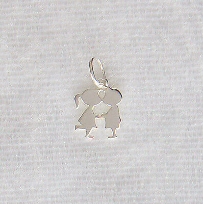 Sterling Silver Miniature Kissing Couple Boy & Girl Charm Small 8mm 925