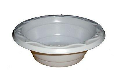 100 x White Disposable Strong Plastic Dinner Bowls 12oz