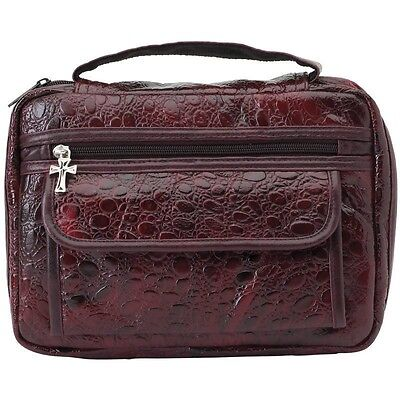 BURGUNDY Faux Alligator BIBLE COVER Protective Book Tote Carry Case Cross Zippe