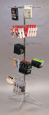 Floor Display Spinner Rack 5 Tier Peg Hook Adjustable Store Fixtures Chrome NEW