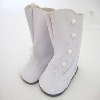 """Doll Clothes 18"""" Colonial Button Boots White Fits American Girl Dolls"""