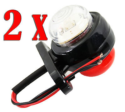 2 pcs WHITE - RED 24V LED Side Rear Front Marker Iamp Lights Truck Trailer Bus A