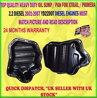 OIL SUMP PAN TRAY TIN FOR NISSAN X-TRAIL PRIMERA YD22DDT DCi 2.2 LTR 2001-2007