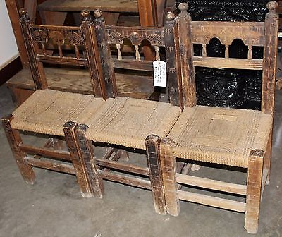 Set of Three American Primitive Chairs With Seats of Woven Rush
