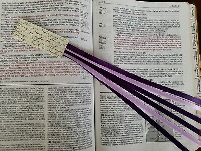 Bookmark ribbons multi page for Bible,hardcover books PURPLES handmade Lent