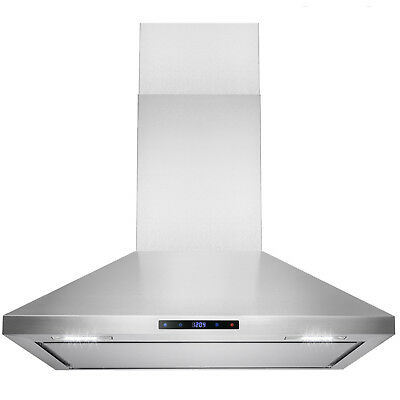 """36"""" Stainless Steel Wall Mount Range Hood Touch Screen Display Vents"""