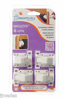 4 Pack Dreambaby Dream Baby Mag Lock Magnetic Locking System - No Key **new**