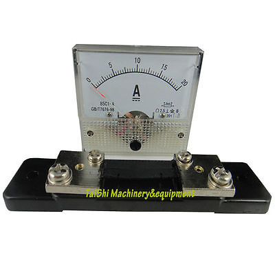 Analog AMP Panel Current Meter 85C1 DC 0-20A  Gauge + Shunt
