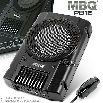 MBQ Car Underseat Compact Slim Active Amplified Amp Subwoofer Dual Voice Coil