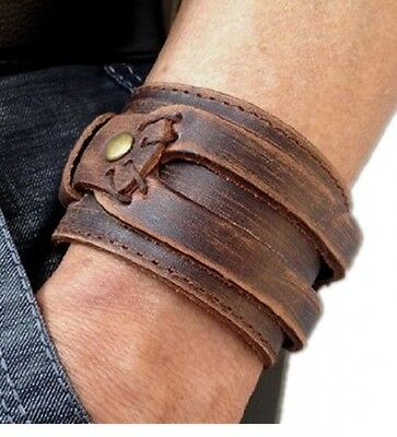 Brown Leather Men's Cuff Bracelet. Delivery is Free