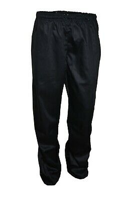 Chef Trousers Plain Black Elasticated Chefs Uniform Unisex Pockets Good Quality