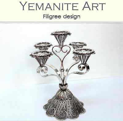 Sterling Silver Shabbat Candelabra Yemenite Filigree art, Yemenite Art